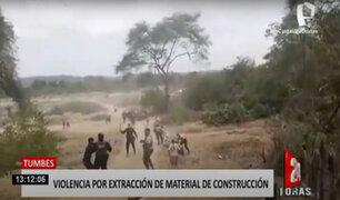 Tumbes: pobladores se enfrentan a extractores de material de construcción