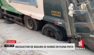 Callao: recolector de basura se hunde en plena pista