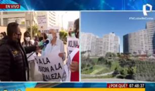 Vecinos de Miraflores protestan por construcción de parque Bicentenario