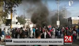Ica: trabajadores de agroexportadoras bloquean Panamericana Sur