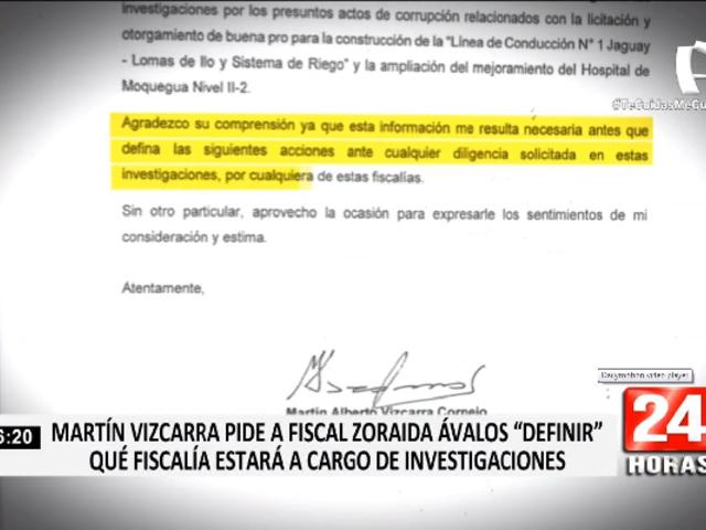 Martín Vizcarra pide a Zoraida Ávalos aclarar que fiscalía investigará hechos en su contra