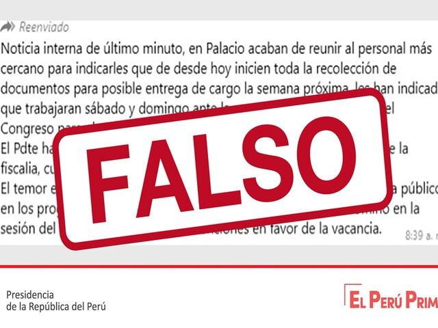 Advierten difusión de información falsa sobre la situación generada por la segunda moción de vacancia