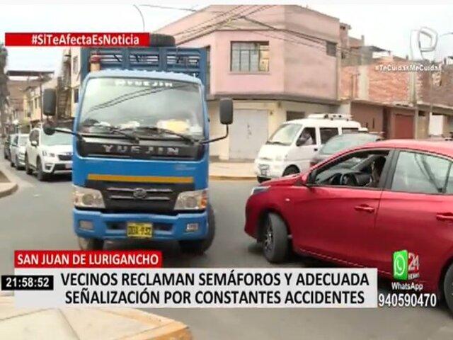 SJL: vecinos piden colocación de señales de tránsito por constantes accidentes
