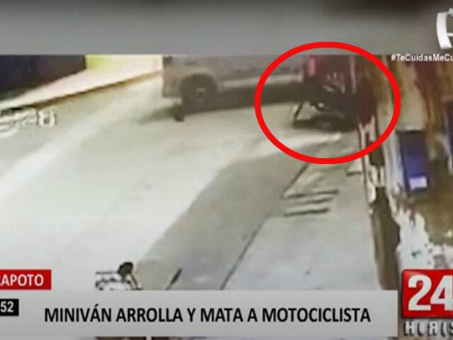 Tarapoto: motociclista muere tras impactar contra una minivan