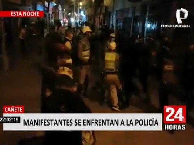 Cañete: manifestantes se enfrentan con la Policía en protesta contra Manuel Merino