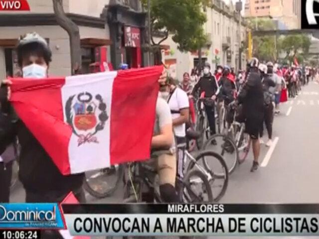 Miraflores: ciclistas se unen a protestas contra gobierno de Manuel Merino
