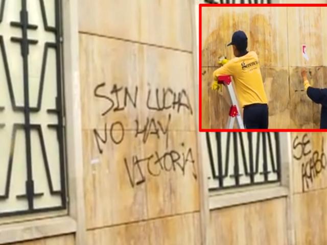 Limpian paredes del Jurado Nacional de Elecciones tras protestas