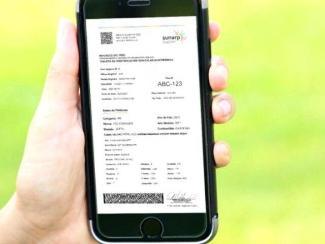 Sunarp emitió más de 13 mil tarjetas de identificación vehicular electrónica