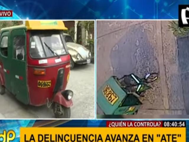 Ate: buscan a ladrones que robaron mototaxi estacionada en una casa