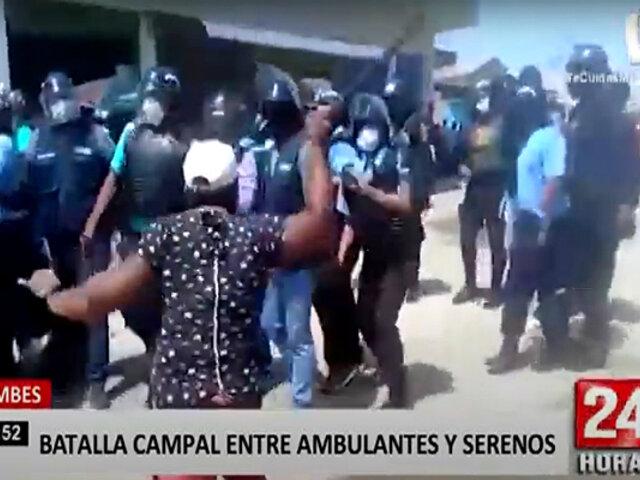 Tumbes: ambulantes y personal de serenazgo se enfrentaron durante operativo