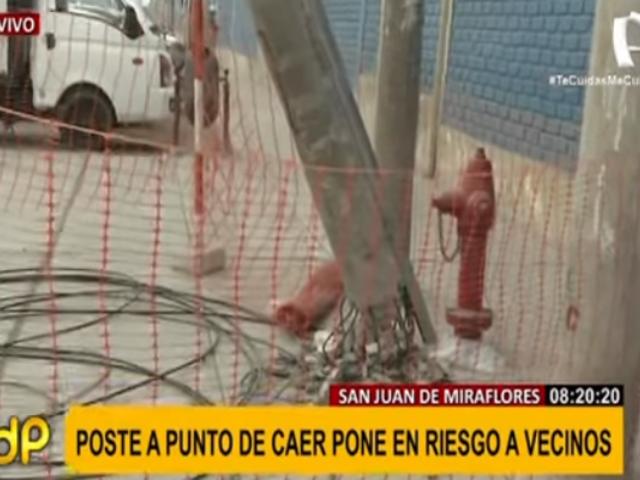 SJM: denuncian que pesado poste se encuentra a punto de caer hace días