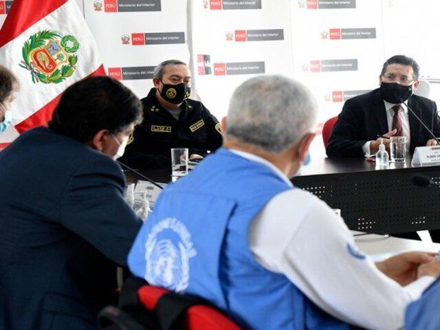 Ministro del Interior y representantes de la ONU se reunieron por manifestaciones