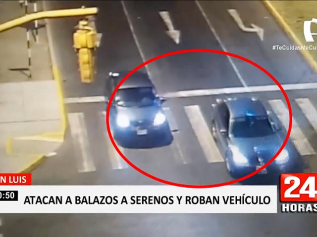 San Luis: peligrosos delincuentes atacan a balazos a serenos y roban vehículo