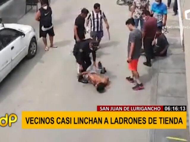 SJL: vecinos casi linchan a ladrones tras robar productos de una bodega