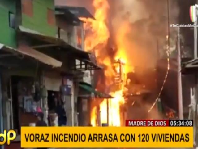 Madre de Dios: incendio arrasó con 120 viviendas