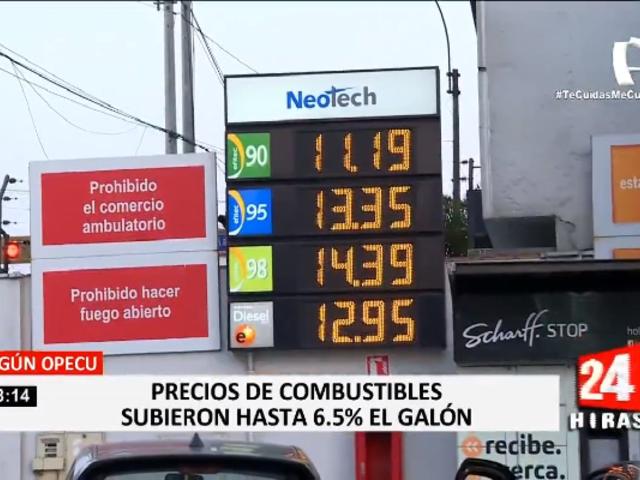 Precios de combustibles subieron hasta 6.5 % el galón, según OPECU
