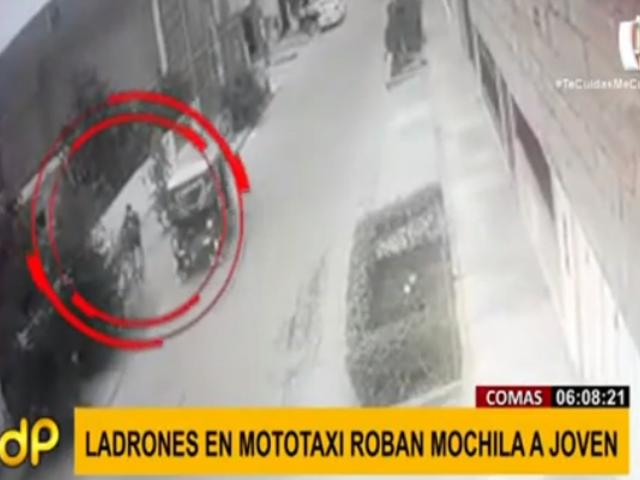 Comas: 'raqueteros' asaltan a joven y le roban mochila a plena luz del día