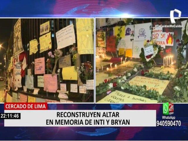 Reconstruyen altar en memoria de Inti Sotelo y Brian Pintado