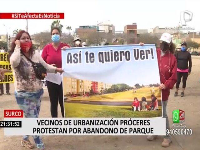 Surco: vecinos denuncian que parque está abandonado por municipio