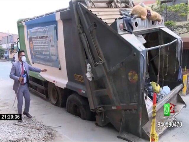 Callao: vecinos culpan a Sedapal por hundimiento de camión en plena pista