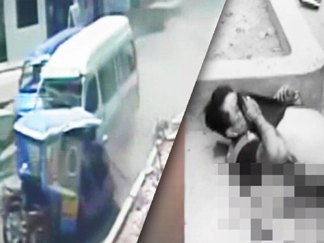 Cámara registra impactante choque entre combi y mototaxi