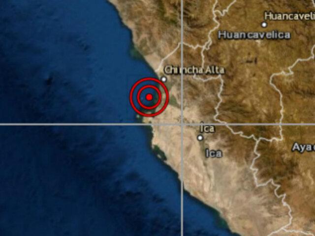 Sismo de magnitud 4.2 se registró esta tarde en Ica