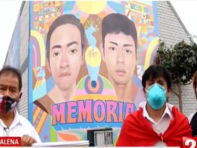 Magdalena: Familiares de Inti Sotelo y Bryan Pintado visitaron mural artístico