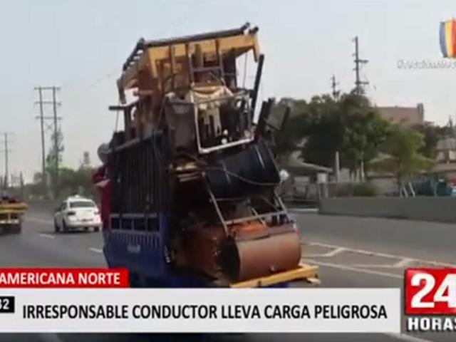Conductor lleva excesiva carga por Panamericana Norte
