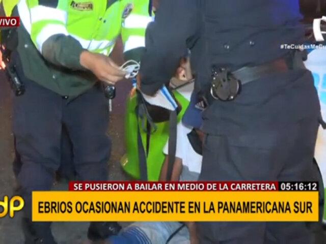 Sujetos en estado de ebriedad ocasionan accidente de transito en la Panamericana Sur