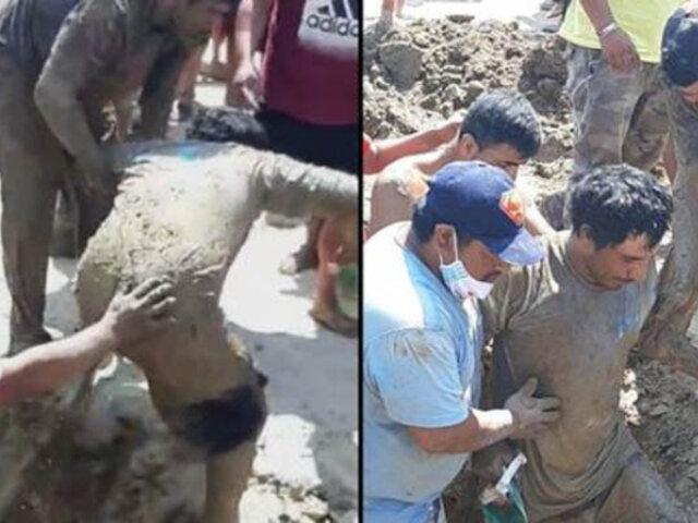 Piura: vecinos rescatan a obreros que fueron sepultados por deslizamiento de tierra