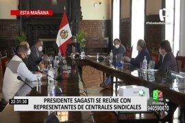 Presidente Sagasti se reunió con representantes de centrales sindicales y empresarios