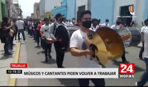 Trujillo: músicos marchan solicitando les permitan el reinicio de sus actividades