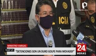 Ministro Vargas: detención demuestra que Movadef es parte de la estructura criminal de SL