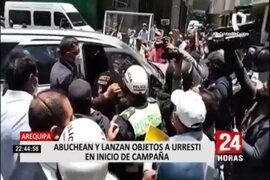 Arequipa: Abuchean y lanzan objetos a Daniel Urresti en inicio de campaña electoral
