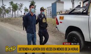 Surco: ladrón es detenido dos veces por robo de bicicletas