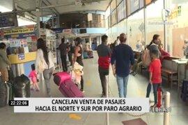 Servicios de transporte cancelan venta de pasajes hacia el Norte y Sur del país