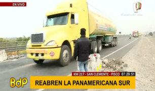Paro agrario: breve tregua en el km 217 de la Panamericana permitió pase de vehículos