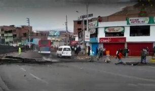 La Oroya: en amplio operativo la Policía Nacional desbloqueó la Carretera Central