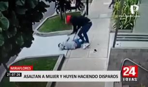 Miraflores: salen a la luz nuevas imágenes del peligroso asalto a mujer en medio de disparos