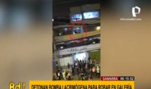 Gamarra: ladrones detonaron bomba lacrimógena al interior de una galería para escapar