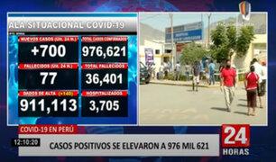 COVID-19: Minsa reporta aumento de 50 a 77 fallecidos en solo 24 horas