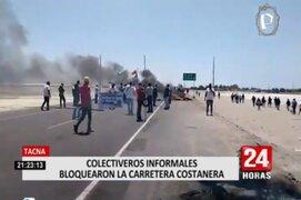 Tacna: Colectiveros informales bloquearon la carretera Costanera