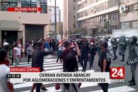 Mesa Redonda: Av. Abancay se cerró este jueves por aglomeraciones y enfrentamientos