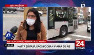 28 Usuarios del Metropolitano podrán viajar de pie en buses