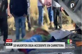 Puno: Choque frontal entre camión y miniván dejó 10 muertos