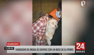 Huancayo: vendedor de droga le da un beso a su perro antes de ser detenido