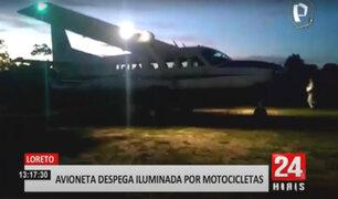 Loreto: avioneta aterriza y despega de emergencia con luces de motocicletas