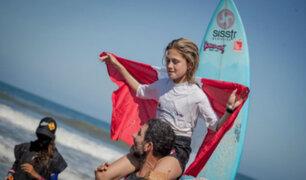 ¡Orgullo nacional! niña piurana ganó II Campeonato Sudamericano de Surf Infantil