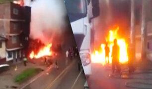 Pasco: incendio consumió grifo y cuatro vivienda en Huariaca