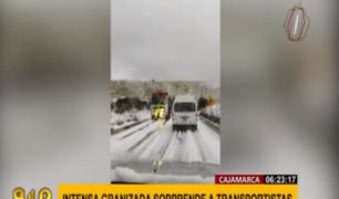 Cajamarca: granizada y nieve sorprendió a transportistas en ruta a Bambamarca
